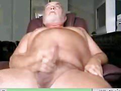 Uncut Grandpa shooting his load