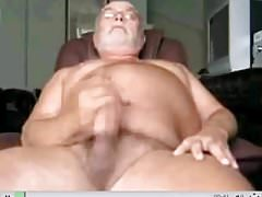 Uncut Grandpa shooting his load