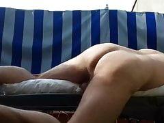 Pillow piss humping cum outdoors