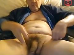 grandpa play with his big soft cock