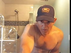 muscular mature dad flashes his cock