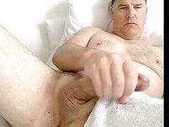 husband strokes mature cock 2