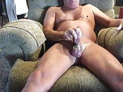 Masturbating with new toy