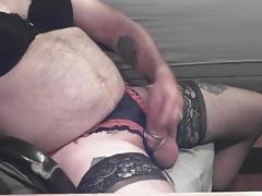 Mature CD crossdresser lingerie bear daddy cams
