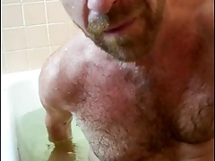 Hot daddy in the bath