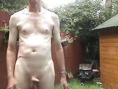 Garden strip with anal play and cumshot with commentary