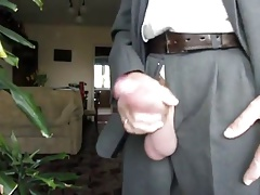 Big Suited Cock Cum on House Plant